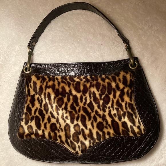 Desmo Leather Handbag with Faux Leopard Fur